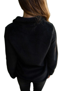 Black Fuzzy Zip up Fleece Jacket