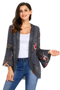Gray Bell Sleeve Floral Kimono with Lace Detail