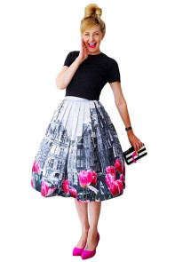 Tulips in The City Printed Pleated Midi Skirt