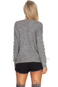 Gray Lace up Sleeve Sweater