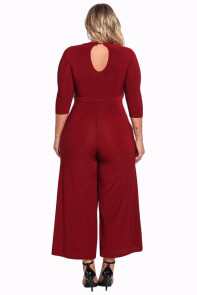 Red Plus Size Cut Out Wide Legged Jumpsuit