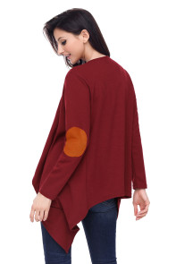 Purplish Red Elbow Patch Women Cardigan