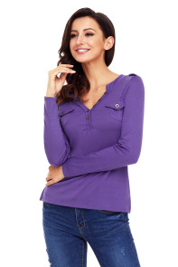 Purple Button Long Sleeve Top with Pockets