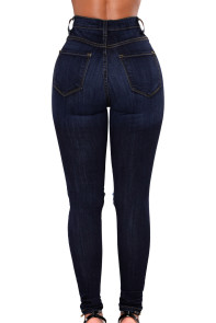 Dark Blue Fishnet Splice High Waist Jeans