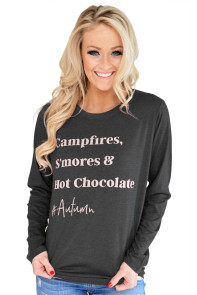 Stylish Letter Print Charcoal Long Sleeve Top