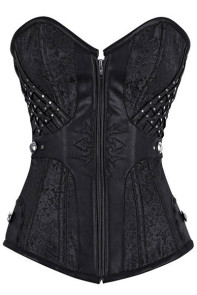 Stud and Faux Leather Trim Zip Front Black Brocade Corset