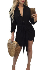 Black Knot Tie Accent Button Down Shirtdress