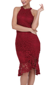 Burgundy Sleeveless Lace Fishtail Bodycon Dress
