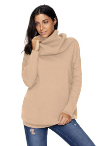 Khaki Cozy Cowl Neck Long Sleeve Sweater