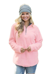 Pink Zipped Pullover Fleece Outfit