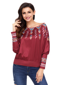 Red Printed Batwing Sleeve Skew Neck Blouse