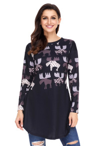 Taro Cartoon Reindeer Print Black Christmas Blouse