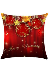 Christmas Baubles and Stars Pattern Decorative Pillow Case