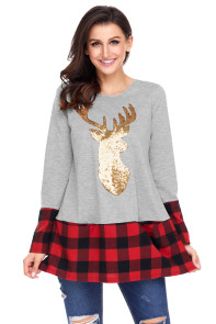 Gold Sequin Christmas Reindeer Gray Tunic with Plaid Detail