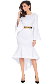 White Bell Sleeve Dip Hem Belted Dress