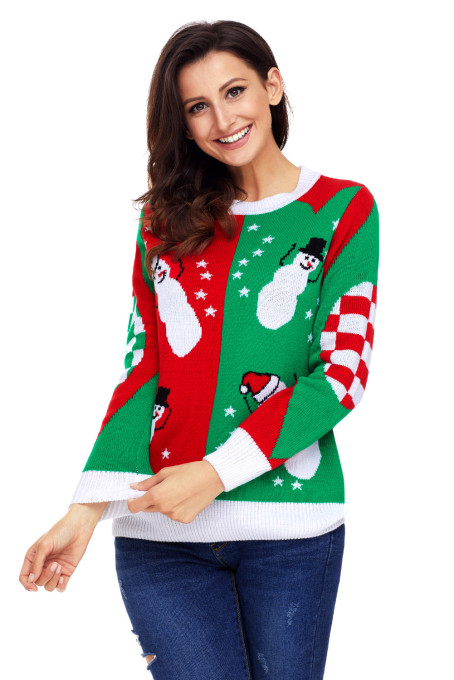 Happy Snowman Green Red Christmas Sweater