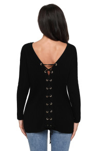 Black Sexy V Neck Lace up Front Sweater