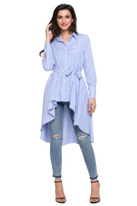 Light Blue Striped Lapel Shirt High Low Belted Blouse Top