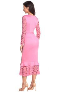 Pink Hollow-out Long Sleeve Lace Ruffle Bodycon Midi Dress