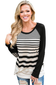 Black Striped Patch Elbow Raglan Blouse