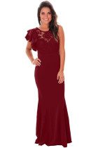 Claret Ruffle Sleeve Crochet Top Maxi Evening Dress