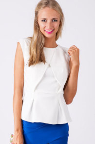 Womanly White Zipped Back Top with Peplum Detail