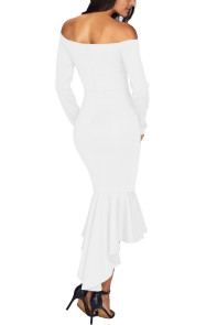 White Off Shoulder Long Sleeve Mermaid Dress