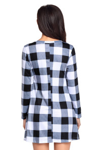 Black White Plaid Mini Dress