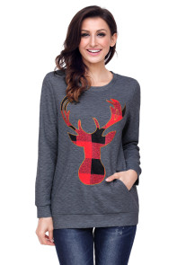 Dark Gray Christmas Plaid Deer Print Abdomen Pocket Sweatshirt