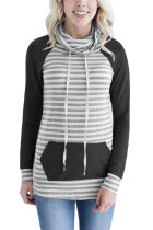 Black Contrast Sleeve Stripe Sweatshirt