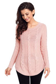 Pink Cable Knit Fall Winter Sweater
