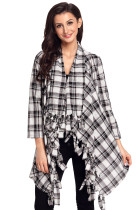 Black White Plaid Tassel Trim Lightweight Cardigan