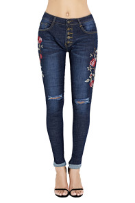 Floral Embroidered Knee Distress Skinny Jeans
