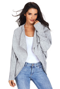 Gray Dolman Sleeve Knit Cardigan with Pocket