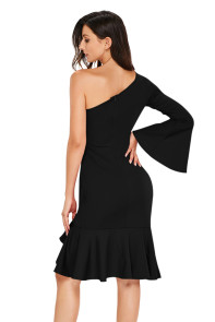 Black Twist and Ruffle Accent One Shoulder Prom Dress
