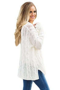 White Oversized Cozy up Knit Sweater