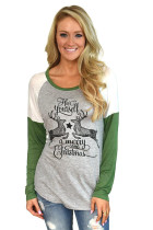 Green Reindeer Have Yourself a Merry Little Christmas Printed Blouse Top