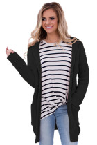 Black Long Open Front Pocket Cardigan