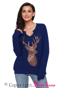 Blue Women's Sequin Christmas Reindeer Top