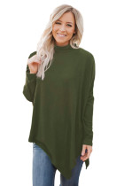 Olive Soft Faux Poncho High Neck Sweater