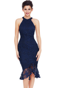 Navy Sleeveless Lace Fishtail Bodycon Dress