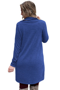 Blue Drawstring Cowl Neck Sweatshirt Dress