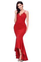 Red Crisscross Spaghetti Straps Hi-low Mermaid Dress
