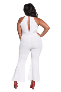 White Plus Size Cut Out Mesh Trim Flared Jumpsuit