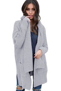 Gray Comfy Cozy Pocketed Cardigan