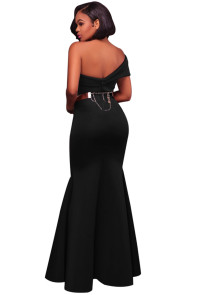 Black Sexy One Shoulder Ponti Gown