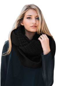 Black Cable Knit Chunky Scarf