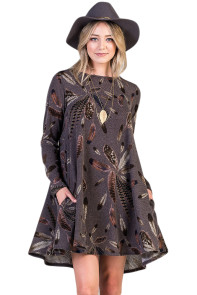 Coffee Feather Graphic Pocket Tunic Dress