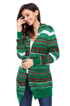 Green White Red Geometric Knit Christmas Cardigan