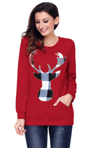 Red Christmas Plaid Deer Print Abdomen Pocket Sweatshirt